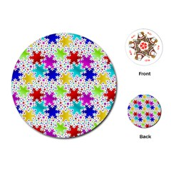 Snowflake Pattern Repeated Playing Cards (round)