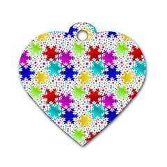 Snowflake Pattern Repeated Dog Tag Heart (two Sides)