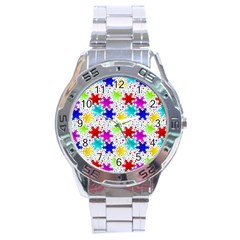 Snowflake Pattern Repeated Stainless Steel Analogue Watch