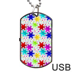 Snowflake Pattern Repeated Dog Tag USB Flash (One Side)