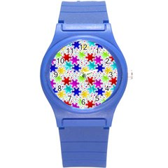 Snowflake Pattern Repeated Round Plastic Sport Watch (s)