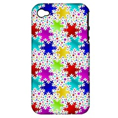 Snowflake Pattern Repeated Apple Iphone 4/4s Hardshell Case (pc+silicone)