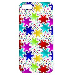 Snowflake Pattern Repeated Apple Iphone 5 Hardshell Case With Stand