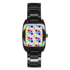 Snowflake Pattern Repeated Stainless Steel Barrel Watch