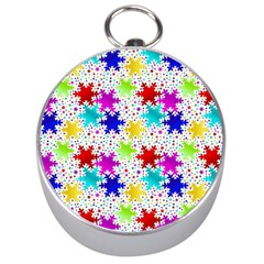 Snowflake Pattern Repeated Silver Compasses