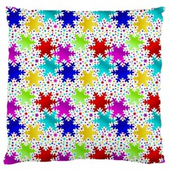 Snowflake Pattern Repeated Large Flano Cushion Case (one Side)