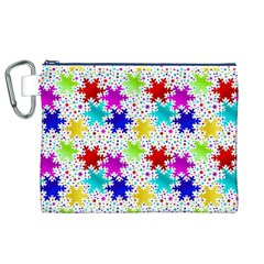 Snowflake Pattern Repeated Canvas Cosmetic Bag (xl)