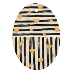 Black Lines And Golden Hearts Pattern Ornament (oval)