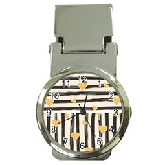 Black Lines And Golden Hearts Pattern Money Clip Watches