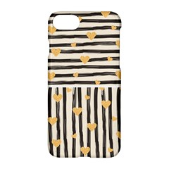 Black Lines And Golden Hearts Pattern Apple Iphone 7 Hardshell Case