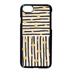 Black Lines And Golden Hearts Pattern Apple Iphone 7 Seamless Case (black)