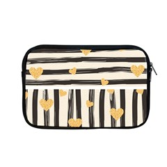 Black Lines And Golden Hearts Pattern Apple Macbook Pro 13  Zipper Case