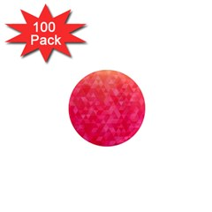 Abstract Red Octagon Polygonal Texture 1  Mini Magnets (100 Pack)