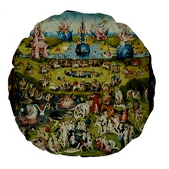 Hieronymus Bosch Garden Of Earthly Delights Large 18  Premium Flano Round Cushions