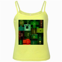Door Number Pattern Yellow Spaghetti Tank