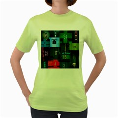 Door Number Pattern Women s Green T Shirt
