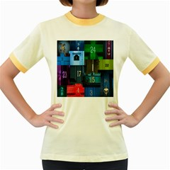 Door Number Pattern Women s Fitted Ringer T-Shirts