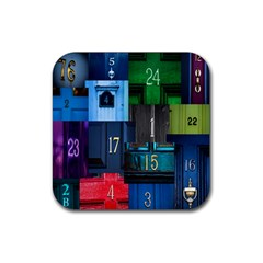 Door Number Pattern Rubber Coaster (square)