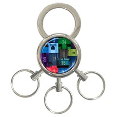 Door Number Pattern 3-Ring Key Chains