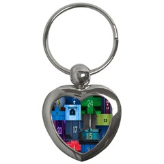Door Number Pattern Key Chains (heart)