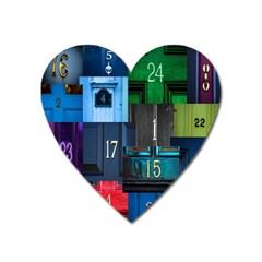 Door Number Pattern Heart Magnet