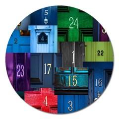 Door Number Pattern Magnet 5  (round)