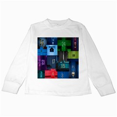 Door Number Pattern Kids Long Sleeve T Shirts