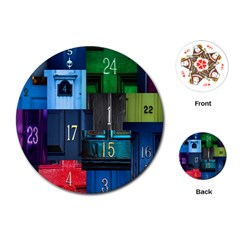 Door Number Pattern Playing Cards (Round)