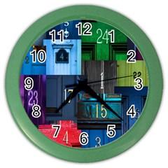 Door Number Pattern Color Wall Clocks