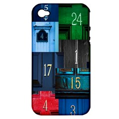 Door Number Pattern Apple Iphone 4/4s Hardshell Case (pc+silicone)