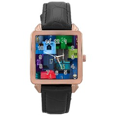 Door Number Pattern Rose Gold Leather Watch