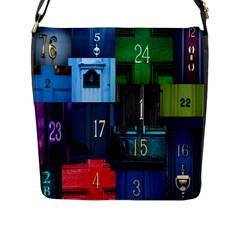 Door Number Pattern Flap Messenger Bag (l)
