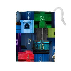 Door Number Pattern Drawstring Pouches (large)