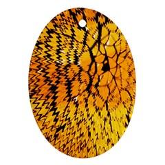 Yellow Chevron Zigzag Pattern Ornament (oval)