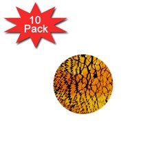 Yellow Chevron Zigzag Pattern 1  Mini Buttons (10 Pack)