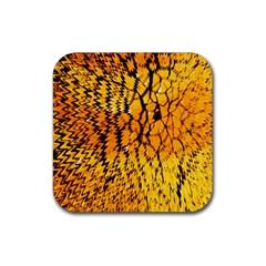 Yellow Chevron Zigzag Pattern Rubber Coaster (square)