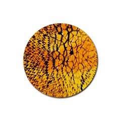 Yellow Chevron Zigzag Pattern Rubber Round Coaster (4 Pack)