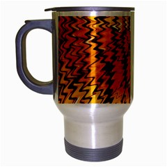 Yellow Chevron Zigzag Pattern Travel Mug (silver Gray)