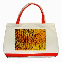 Yellow Chevron Zigzag Pattern Classic Tote Bag (red)