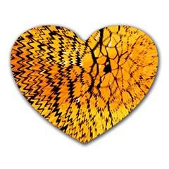 Yellow Chevron Zigzag Pattern Heart Mousepads