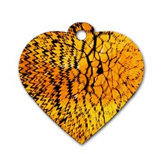 Yellow Chevron Zigzag Pattern Dog Tag Heart (two Sides)