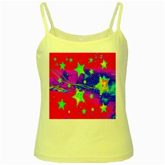 Red Background With A Stars Yellow Spaghetti Tank