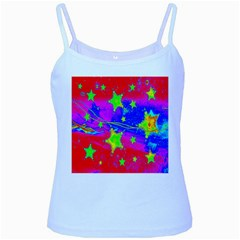 Red Background With A Stars Baby Blue Spaghetti Tank