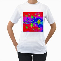 Red Background With A Stars Women s T Shirt (white) (two Sided)