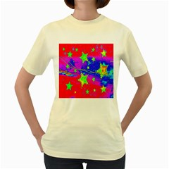 Red Background With A Stars Women s Yellow T Shirt