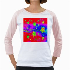 Red Background With A Stars Girly Raglans
