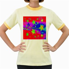 Red Background With A Stars Women s Fitted Ringer T Shirts