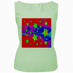 Red Background With A Stars Women s Green Tank Top