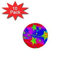 Red Background With A Stars 1  Mini Buttons (10 Pack)
