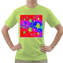 Red Background With A Stars Green T Shirt
